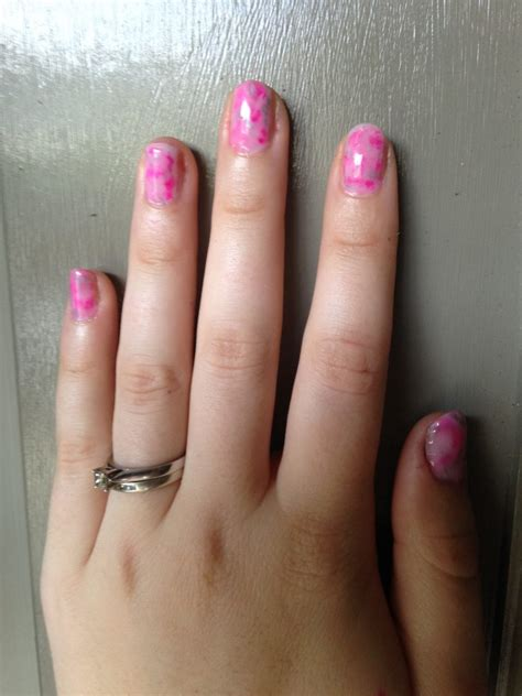 pink marble nails  sharpie  marbling technique