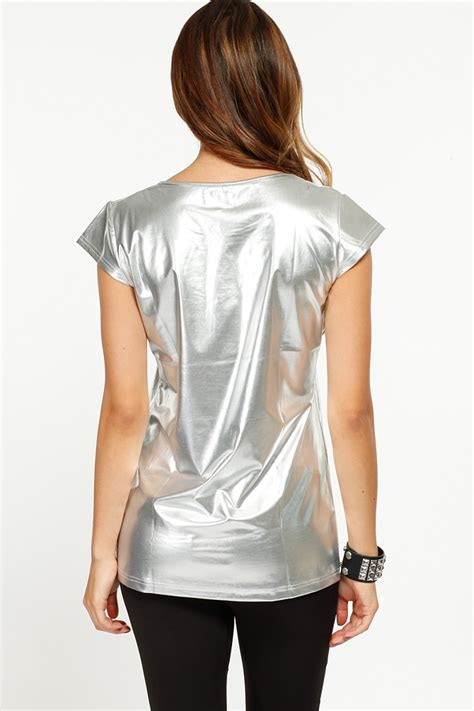 silver blouse metallic tiger silver top cicihot top shirt clothing