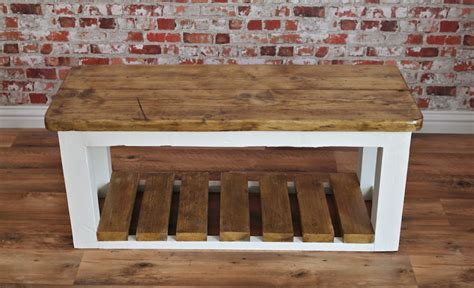 Hall shoe storage bench, farmhouse entry rustic bench