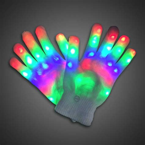 white led lights green wire rainbow sparkling led lighted gloves