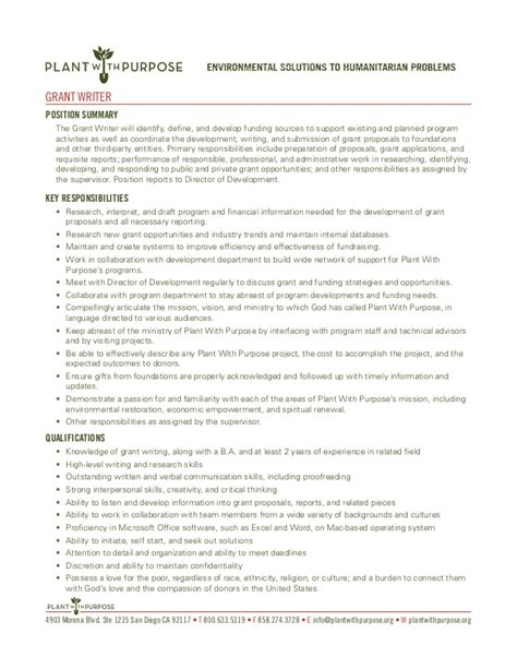 grant writer description at plant with purpose