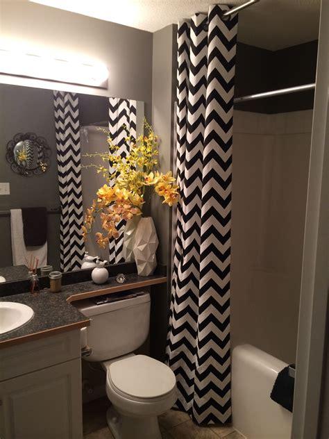 black white yellow small bathroom chevon floor