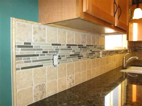 large tile kitchen backsplash backsplash 4x4 tiles with a large glass and mosaic liner traditional kitchen