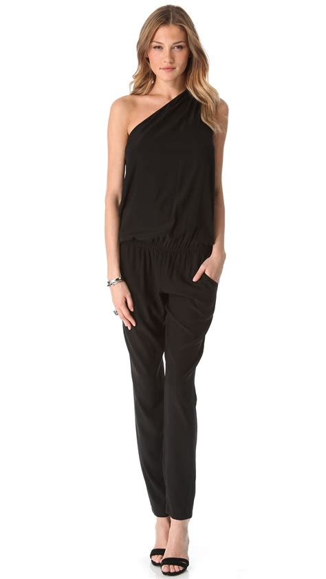 lulus jumpsuit ramy brook lulu one shoulder jumpsuit in black lyst
