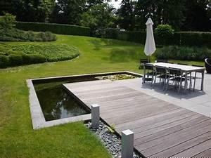 terrasse paves et bois avec bassin a l39angle terrasses With bassin de terrasse en bois