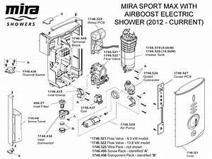 Shower Spares For Mira Sport Max With Airboost Electric Shower 9 0kw  Chrome
