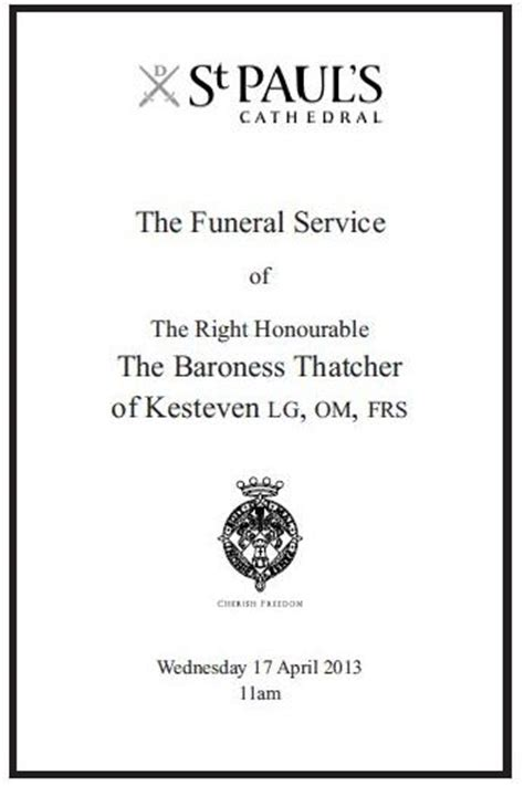 order  service   funeral  baroness thatcher