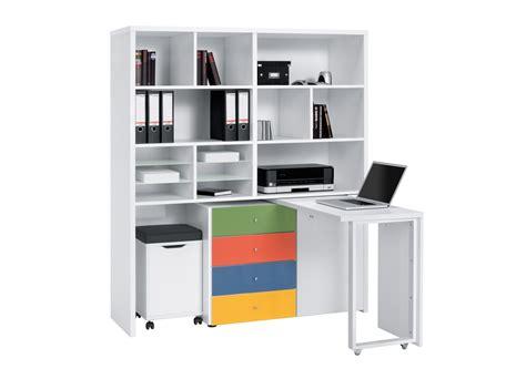 bureau de contr e bureau modulable contemporain avec rangement coloris blanc