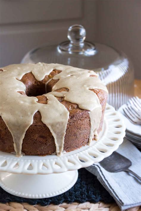 apple walnut cake  maple brown butter glaze