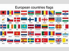Set of rectangle buttons with European countries flags