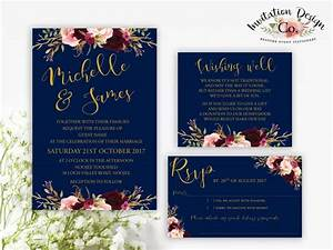 digital wedding invitation navy gold and boho burgundy With burgundy wedding invitations australia
