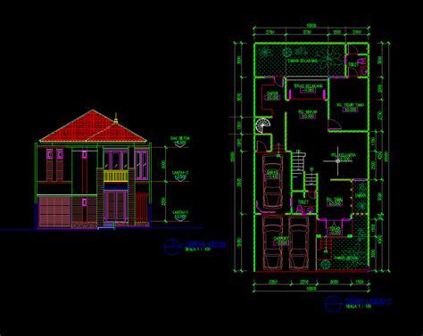 gambar autocad desain rumah tinggal  lantai