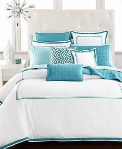 Turquoise, And, White, Bedding, Set, Product, Selections