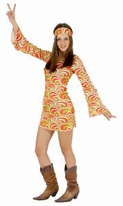 Buntes Hippie 70er Jahre Kleid Fr Damen Gr XS XL