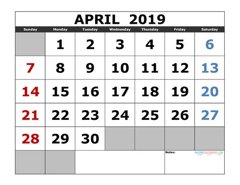printable april calendar template landscape format