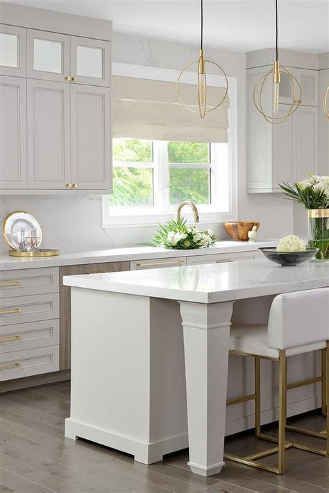 light gray kitchen cabinets  gold hardware