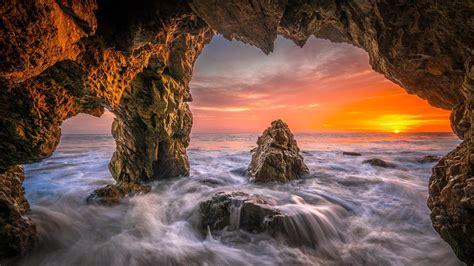 Malibu beach sea cave sunset wallpaper - backiee