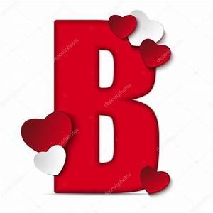 Alfabeto letra B con corazones — Vector de stock #61526865 ...