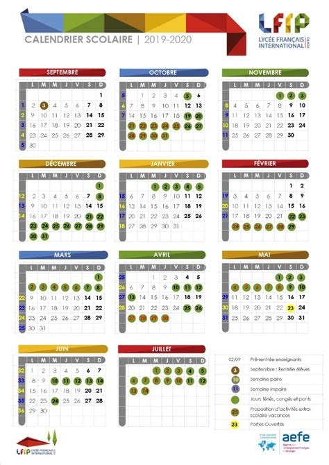 calendario escolar lfip lycee francais international porto