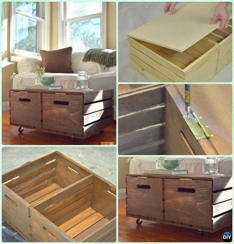 This one made from crates will let you store coffee table wooden crate cargo crate wooden chest with rolls connor. DIY Wood Crate Coffee Table Free Plans Picture Instructions