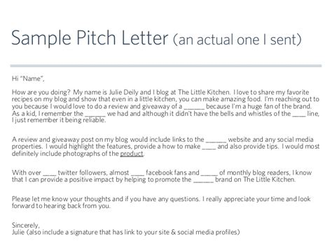 sle pitch letter an actual