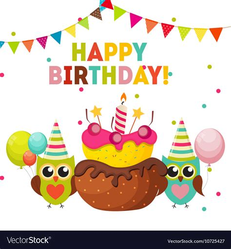 Happy Birthday Owl Images Owl Happy Birthday Background With Balloons Vector Image
