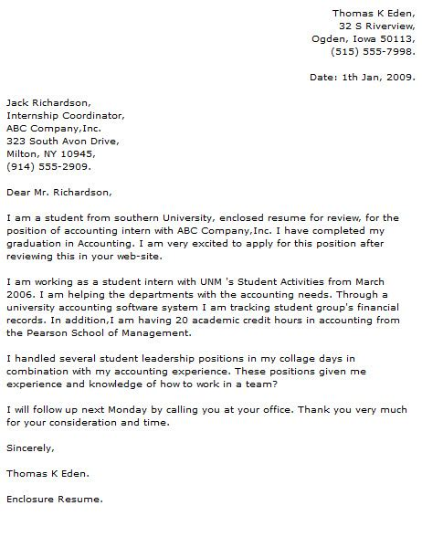 Sample Internship Cover Letter Examples