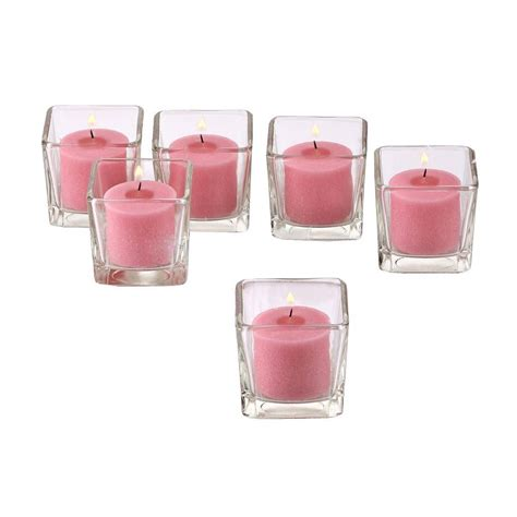 pink votive candle holders light in the clear glass square votive candle holders