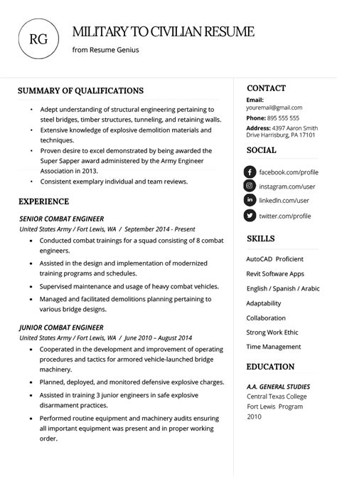 write  military  civilian resume resume genius