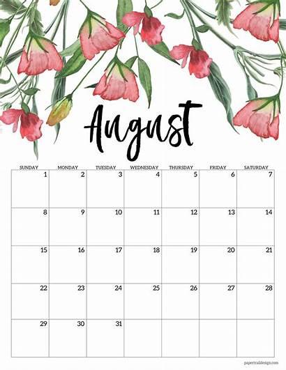 Calendar 2021 Floral August Printable Monthly Calendars
