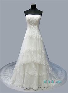 h1501 latest princess tiered tulle lace a line wedding dress With tiered wedding dress