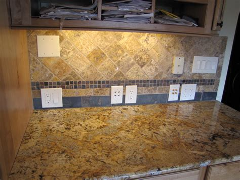 slate subway pattern mosaic tile kitchen backsplash