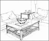 Drawing Perspective Living Table Dining Bedroom Pencil Canopy Drawings Getdrawings Point Tub sketch template