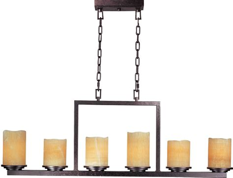 rectangular bronze pillar candle chandelier light