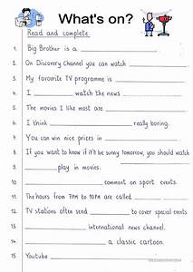 Read And Complete - Tv Worksheet