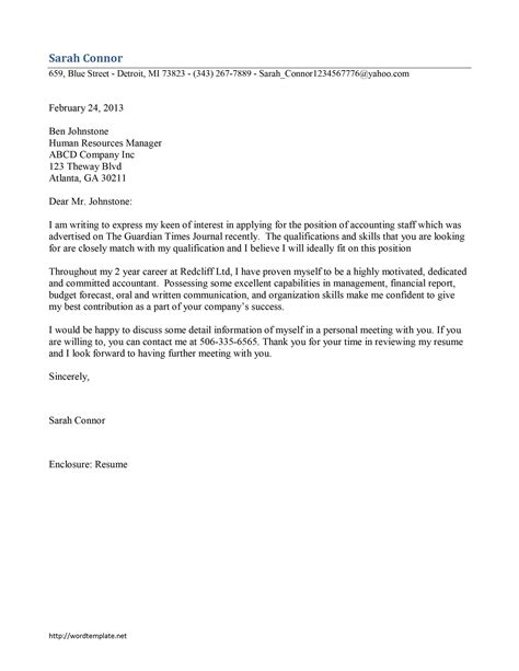 cover letter chartered accountant exle accounting staff cover letter template free microsoft
