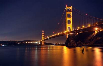 Gate Bridge Golden Night Wallpapers Android Nighttime