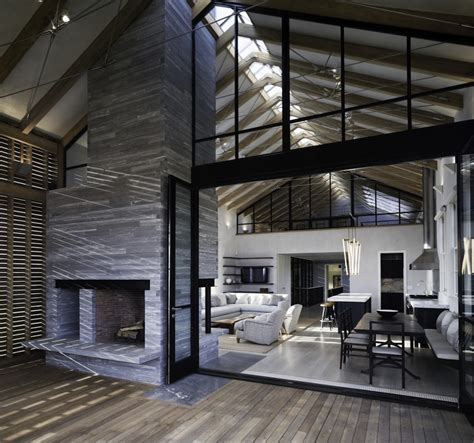 Pole Barn Home Interiors Barn Style Home With Slatted Wood Siding Modern House Designs