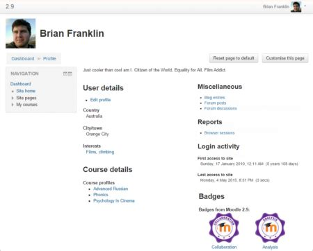 User Profiles Moodledocs