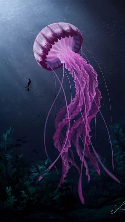Jellyfish 4k Giant Swimming Wallpapers Galaxy Inspirationde