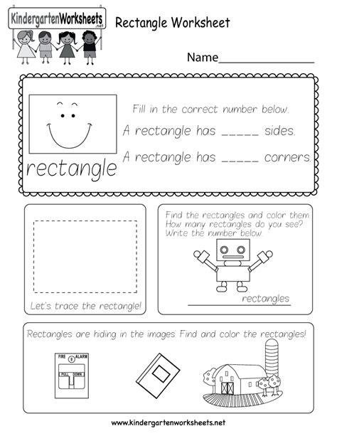 rectangle worksheet  kindergarten geometry worksheet