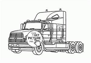 Semi Truck Coloring Page For Kids Transportation Coloring