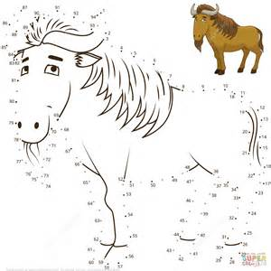 Wildebeest Dot To Dot Free Printable Coloring Pages