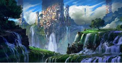 Waterfall Wallpapers Slums Landscape Fantasy Nature Laptop