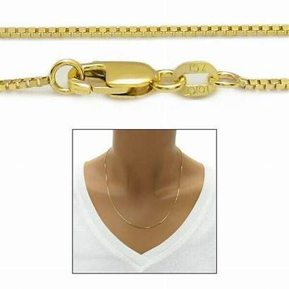 Chain 1mm Lock Box Gold Necklace Yellow