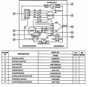 Goldstar R1402 Room Air Conditioner Parts