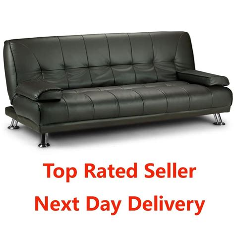 Leather Sofa Bed by Large Italian Style Faux Leather Sofa Bed On Chrome