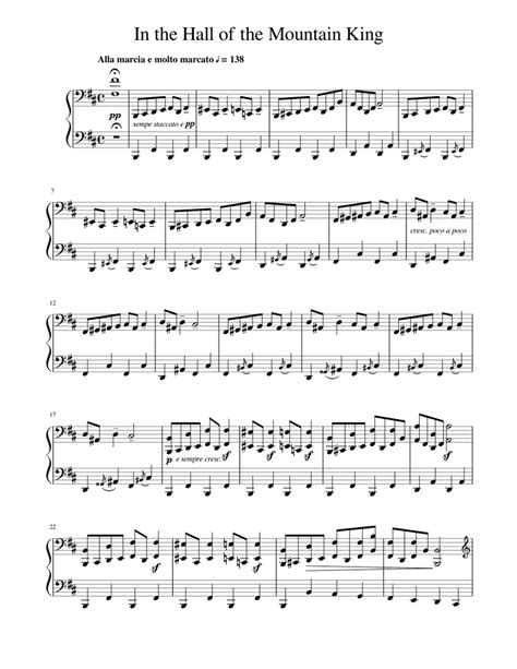 In the hall of the mountain king (grieg) for easy/level 4 piano solo (2 pages). In the Hall of the Mountain King Sheet music for Piano (Solo) | Musescore.com
