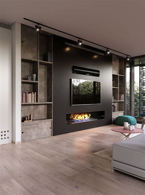 slovenia house interior living room with fireplace