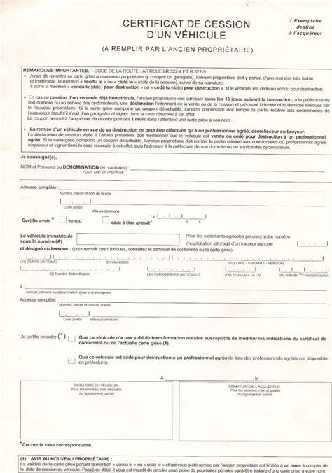 acte cession vehicule image result for declaration de cession de vehicule remplir par le nouveau propri 233 taire cerfa